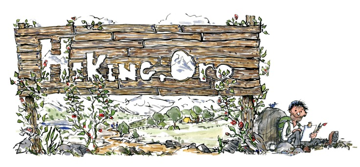 Drawing of an hiking.org sign