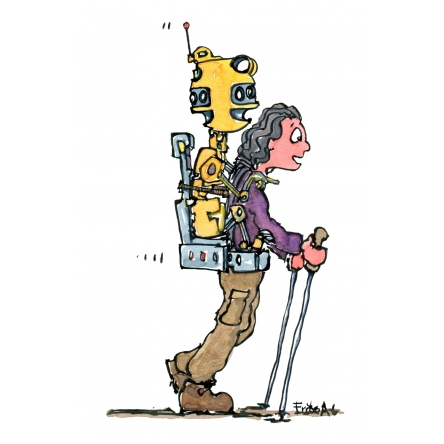 Hiker with a robot on the back instead of a backpack