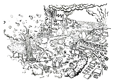Drawing of a green corridor with hikers and animals, black and white ink version