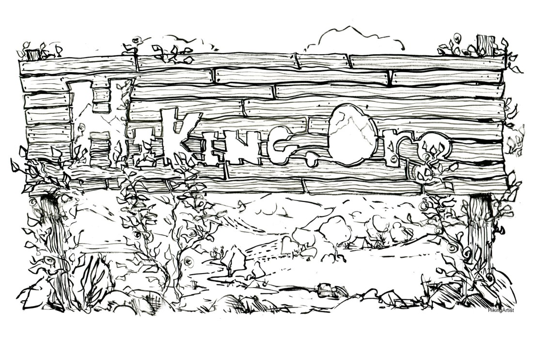 ink drawing of hiking.org sign