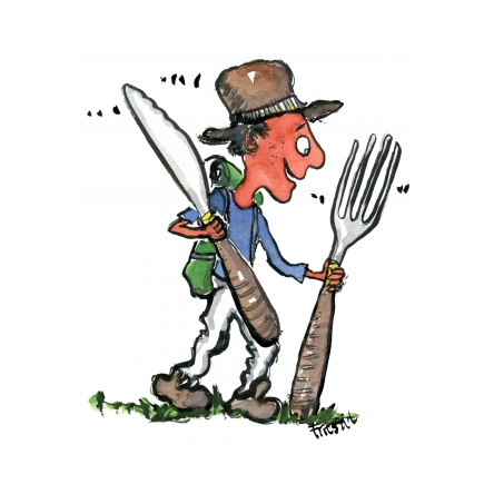 hiker with knife and fork