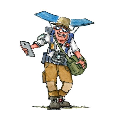 hiker with a lot of screens and gadgets