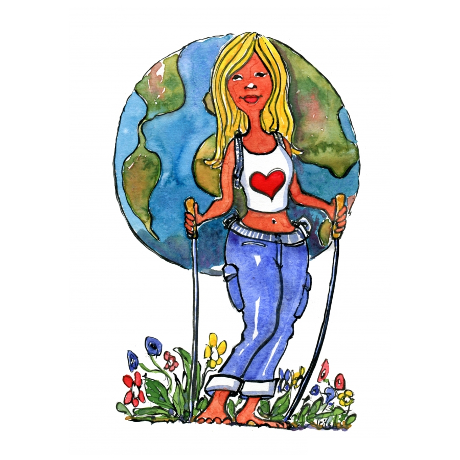 hiker with a globe backpack Illustration by frits Ahlefeldt
