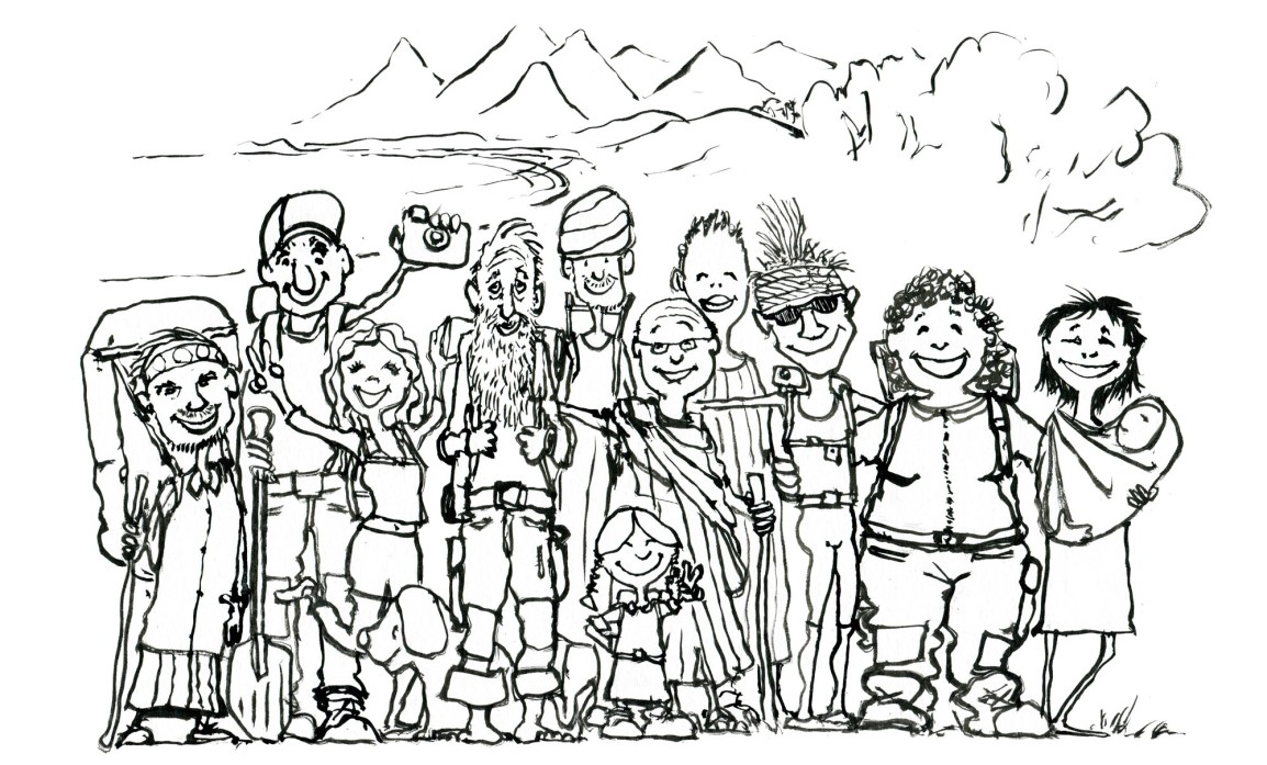 Hikers drawing for intro