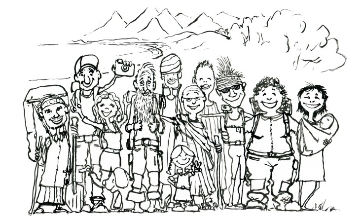 illustration of a group of hikers
