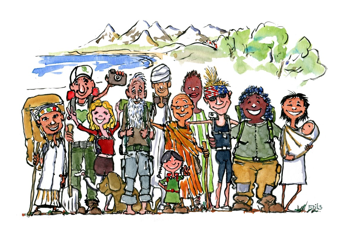 Drawing of a group of hikers