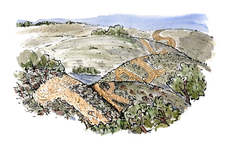 Drawing of an hiking trail in the hills, spell trails