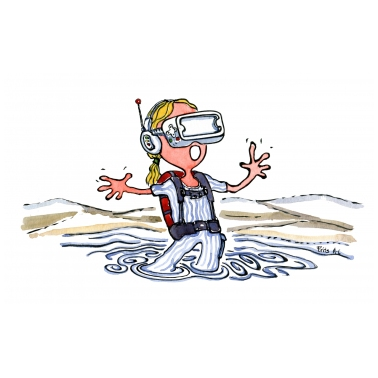 hiker in water with a VR headset