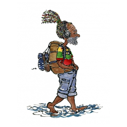 rasta hiker walking with headphones in low water along a beach