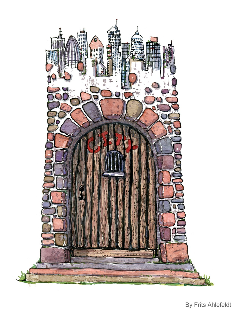 Illustration of a gated city