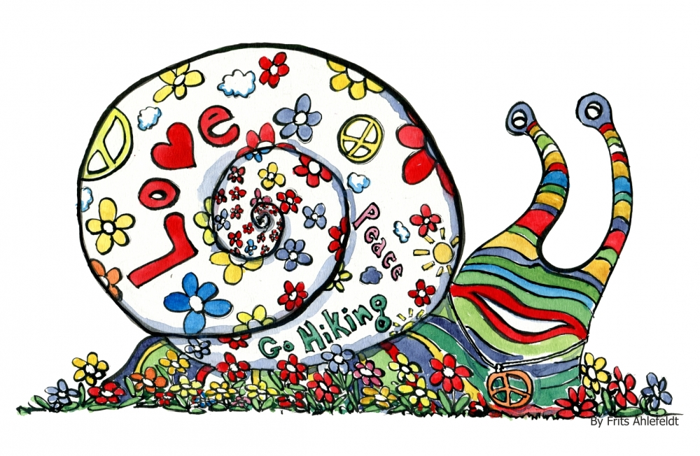 drawing of a hippie snail with peace and love signs etc.