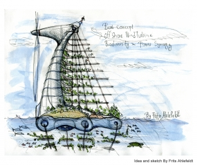 Drawing of a biodiversity wind turbine shaped as a bow