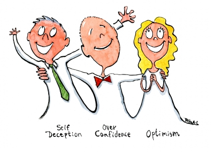 Self deception, over confidence and optimism show up together