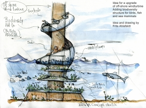 off shore wind turbine with biodiversity boosting add on