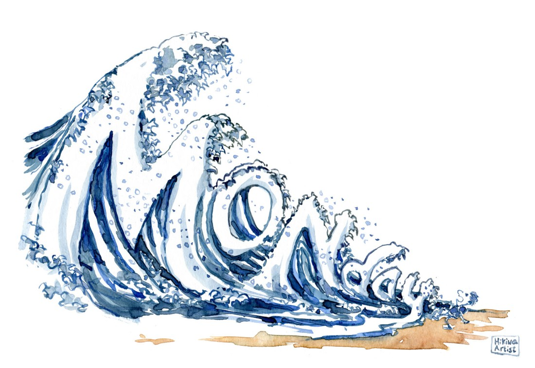 Drawing of a huge wave, spelling monday