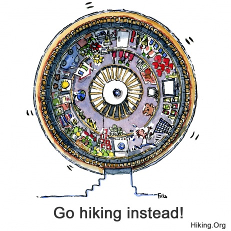 Drawing of a hamster wheel with consumer in it and the text: go hiking instead
