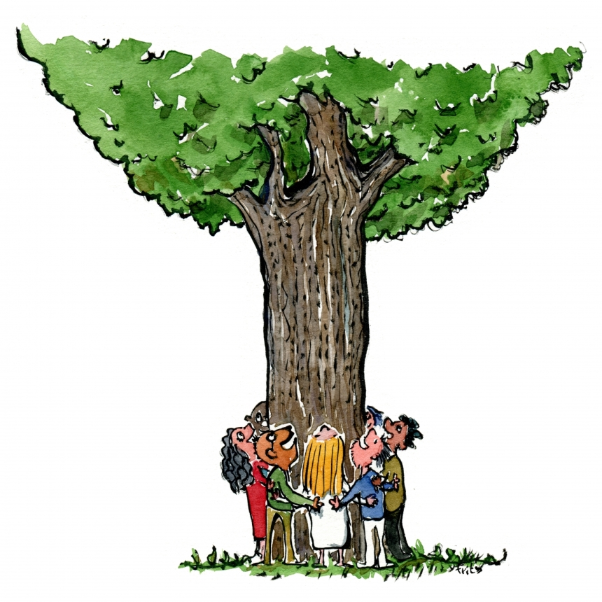 Group of people hugging a tree drawing
