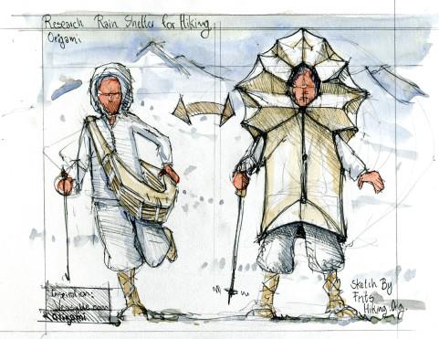 Drawing of an origami looking hiking rain dress