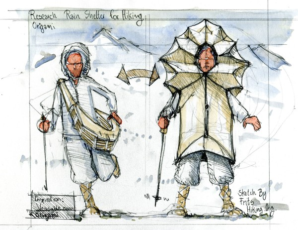 Drawing of an origami looking hiking rain dress