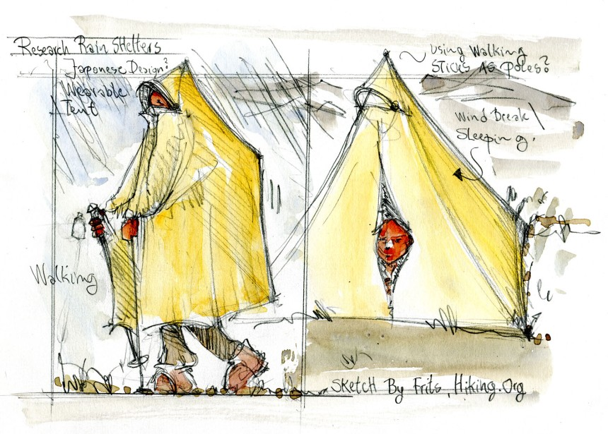 Research drawing of a poncho that can be used as a tent