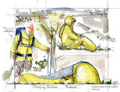 Drawing of the Jak-pak rain-jacket