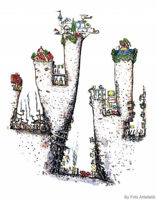 Drawing of an divided city