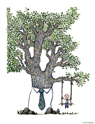 Drawing of a tree with tie and businessman in swing
