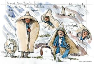 drawing of Turkish Kepenek Shepherd garment wool felt