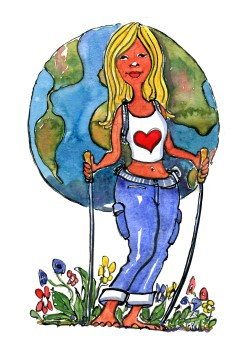 blond woman with a earth as a backpack