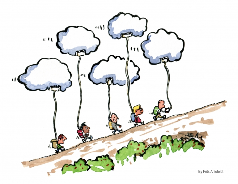 Drawing of hikers walking with phones connected to small clouds up in the air