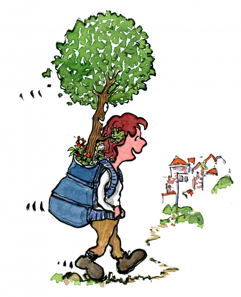 Girl hiking with a tree in the backpack