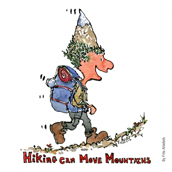 Drawing of a hiker with mountain as a head and the text hiking can move mountains