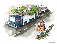 Drawing of a truck filled with nature pass hiker, heading out to see what is left
