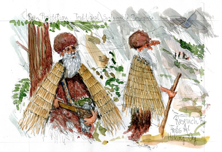Drawing of man for thousands of years ago, wearing natural rain clothes,