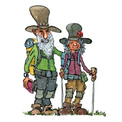 drawing of an old hiking couple