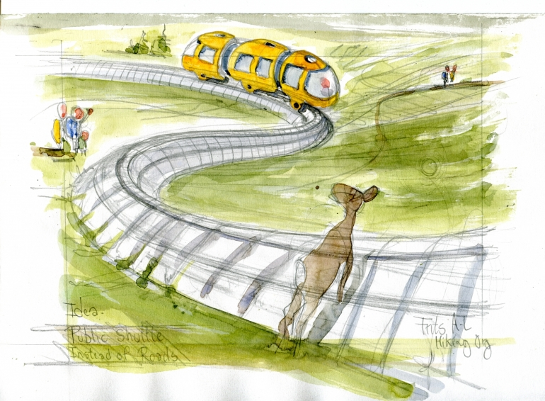 Little yellow train in mountains sketch, deer passing