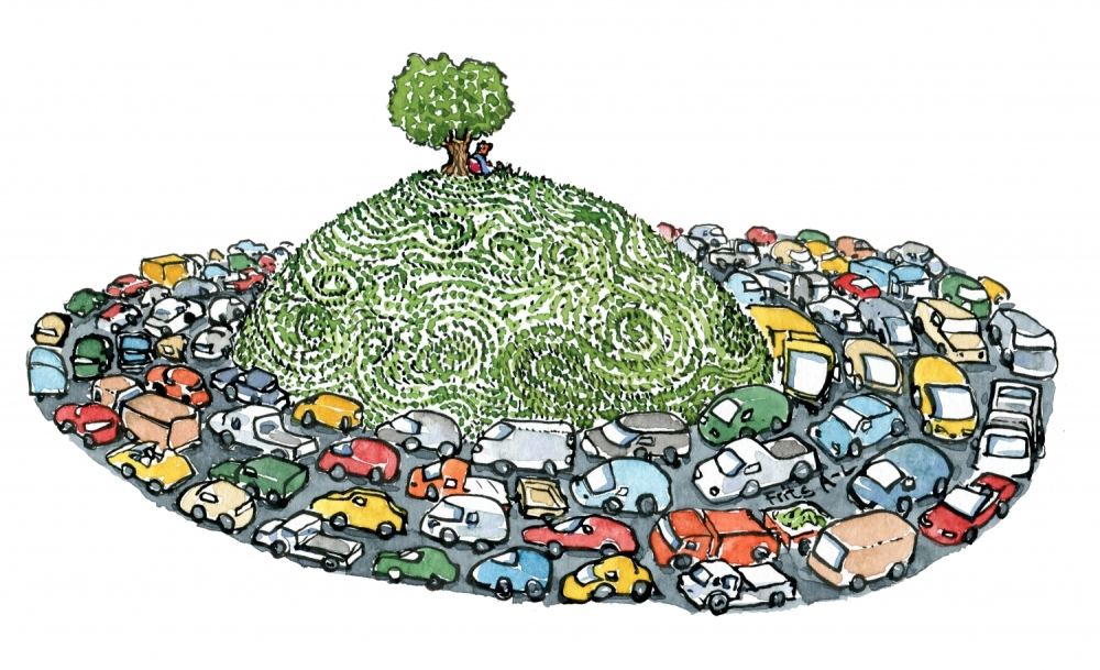 illustration of man sitting by a tree alone on a hill with cars all around him down on the road around the hill