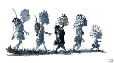 Drawing of Nomads walking