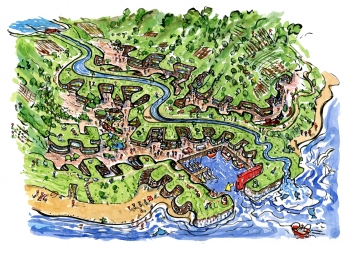 Drawing of a green coastal village in extreme design