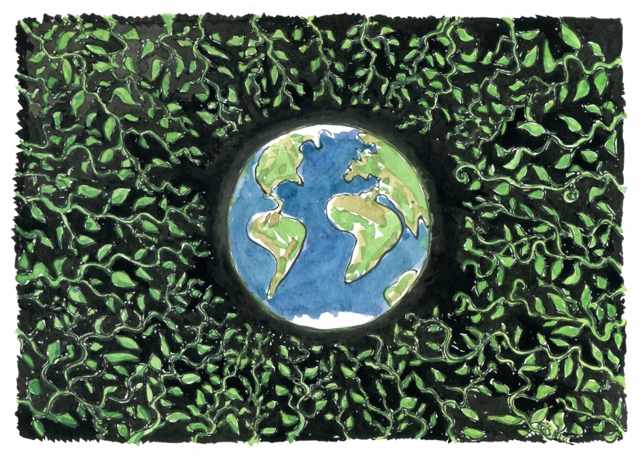 Drawing of leaves around Earth in space