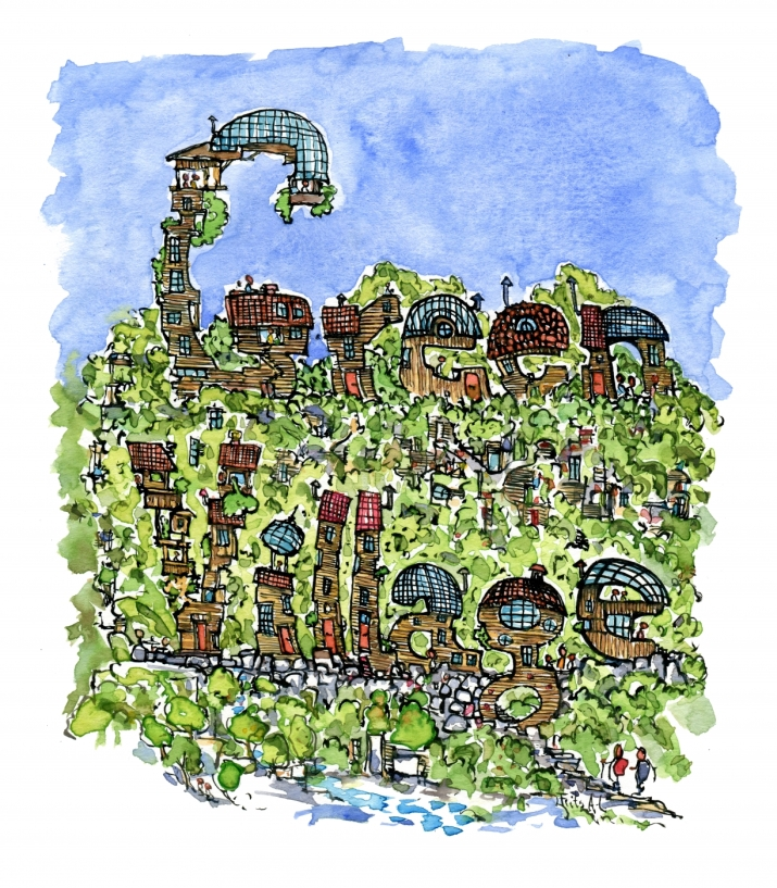 drawing of a green village in letters