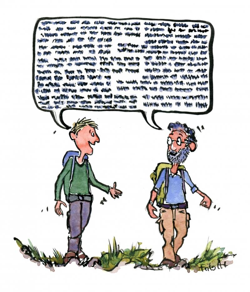 Drawing of two men walking while talking