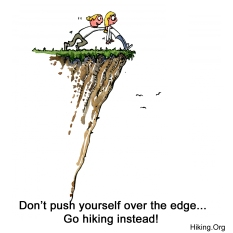 CreativeCommons drawing of a girl pushing herself over an edge
