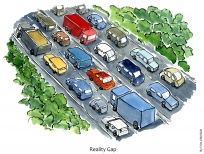 drawing of a huge road with green forests on each side