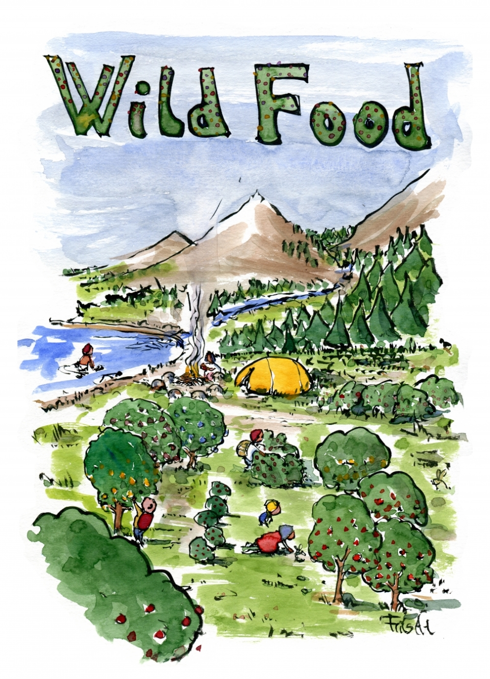 Drawing of hikers picking wild fruit and food