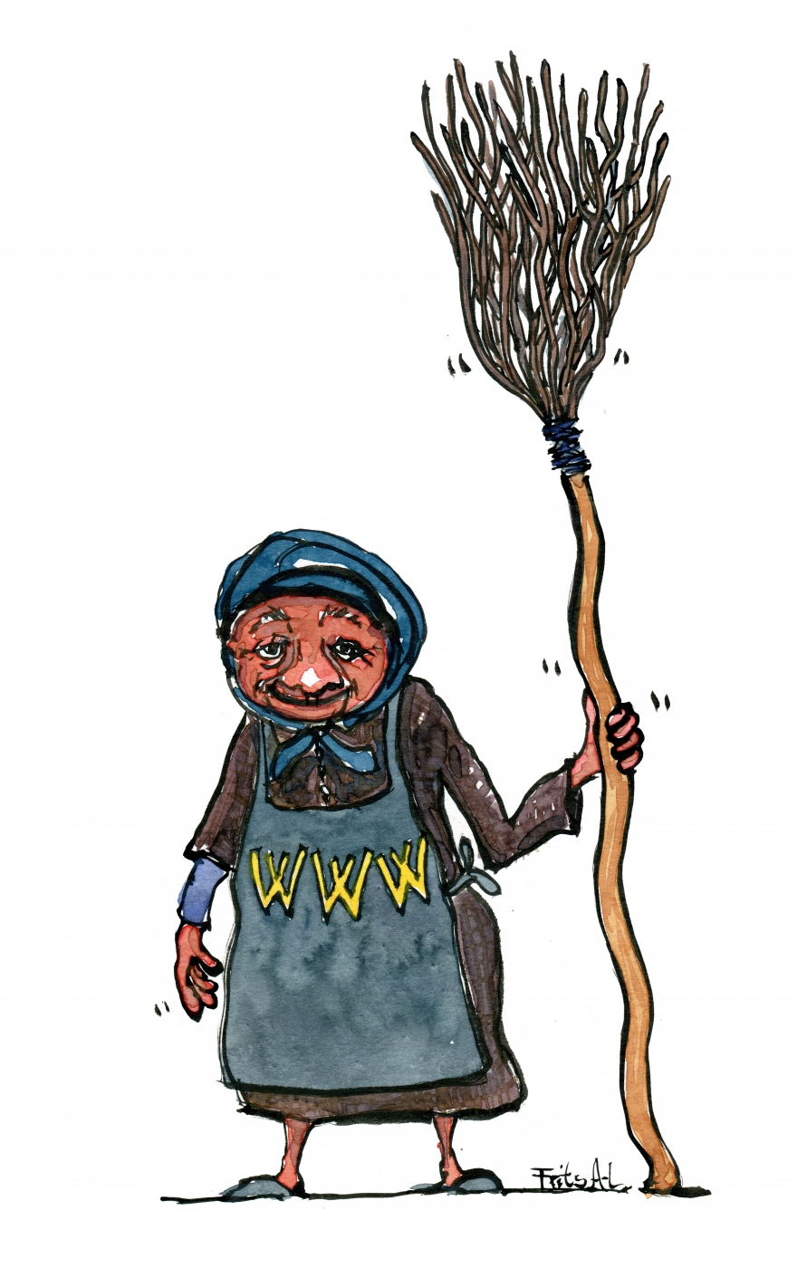 Drawing of an old lady with a broom and www on her apron