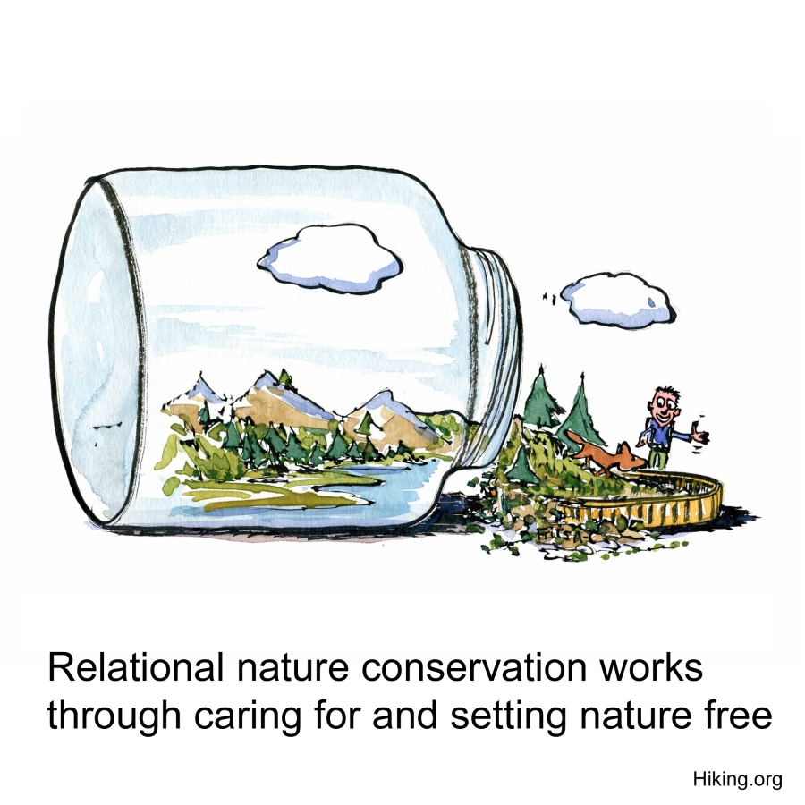 Drawing of a tipped over glass with nature, setting nature free