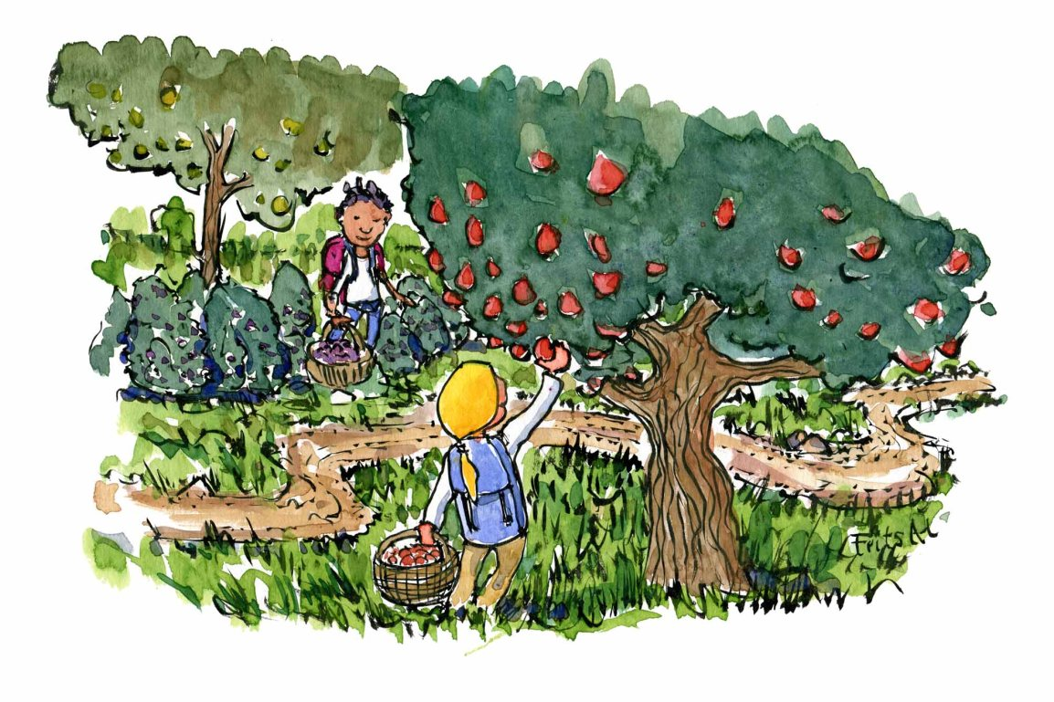 People picking wild food along the trails Wildcrafting illustration by Frits Ahlefeldt