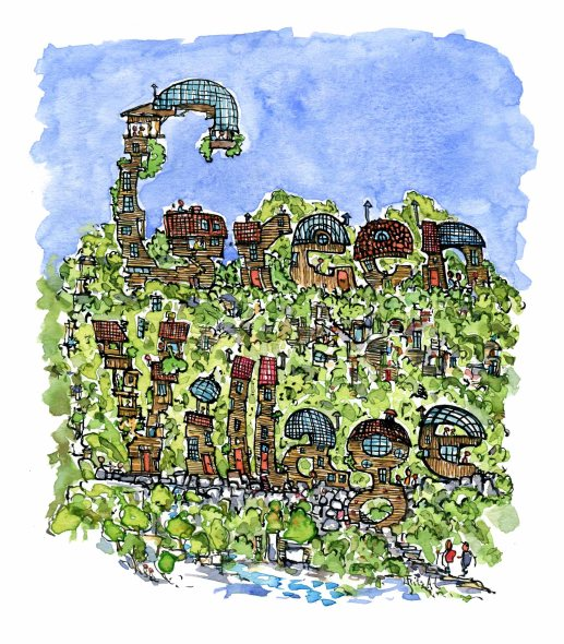 green-village-in-letters-drawing-by-frits-ahlefeldt