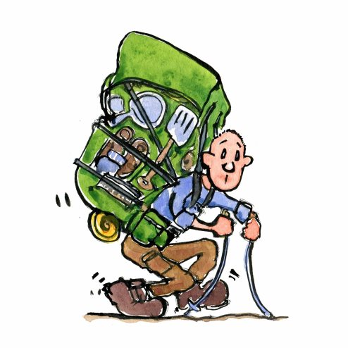 Drawing of a hiker with heavy backpack